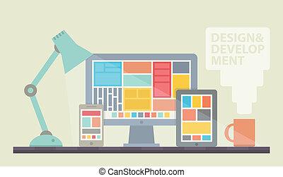 開発, 網の設計, イラスト