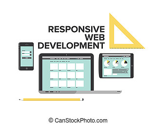 開発, 網, 平ら, イラスト, デザイン, 敏感