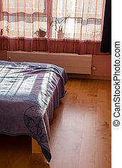陰, 反映された, によって, カーテン, 太陽, bedspreads