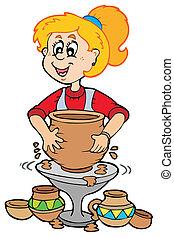 陶器, 女の子, 漫画
