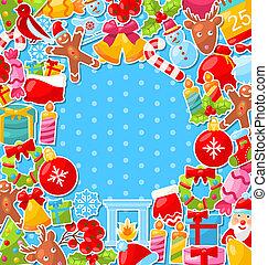 陽気, カラフルである, オブジェクト, 伝統的である, 背景, クリスマス