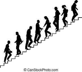 階段, 歩行者