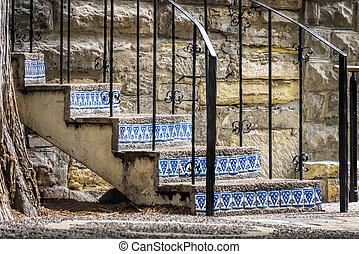階段, riverwalk, san, 外気に当って変化した, antonio