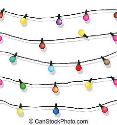 隔離された, ストリングライト, 白い クリスマス, seamless
