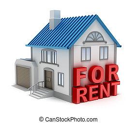 隔離された, 家, rent., 概念, 3d