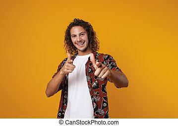 隔離された, 幸せ, カメラ男, とんびが指さす, 若い