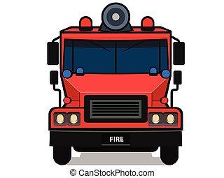 隔離された, 漫画, 白, トラック, 火