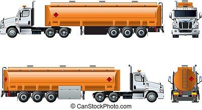 隔離された, 現実的, ベクトル, トラック, テンプレート, 白, タンカー