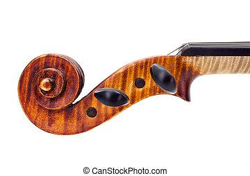 隔離された, scroll., バイオリン, 白, 止め釘, サイド光景