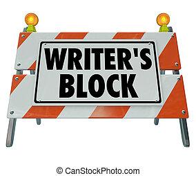 障壁, 建設, バリケード, 道, 言葉, 作家のブロック