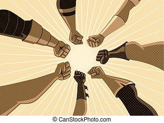 集まりなさい, 型, superhero, チーム