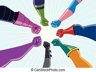 集まりなさい, superhero, チーム