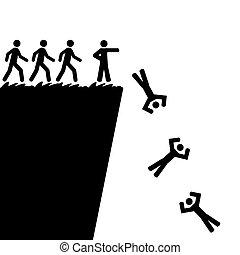 離れてジャンプする, 崖