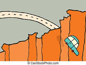 離れて, 自動車, /, 跳躍, 落ちる, 崖