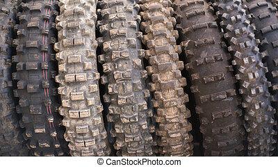 離れて, motocross, 道, 使われた, タイヤ, バックグラウンド。