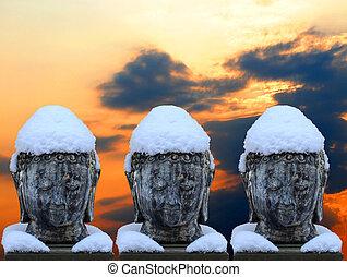 雪が多い, バスト, 3, 仏, 帽子, つば