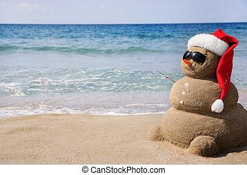雪だるま, ありなさい, 概念, sand., 使われた, 作られた, 缶, 年, カード, 新しい, 休日, クリスマス, から