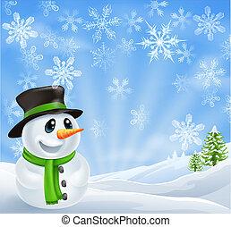 雪だるま, クリスマス場面