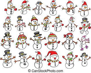 雪だるま, 休日, セット, クリスマス
