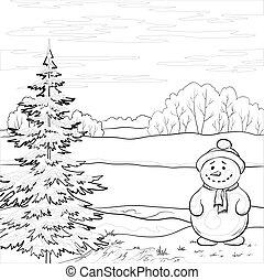雪だるま, 木, クリスマス, 輪郭