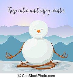 雪だるま, relaxed., ヨガ, 冬, 山, ロータス, posture., 平和である, 日の出