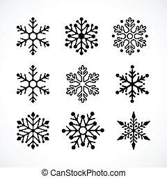 雪片, クリスマス, 背景, アイコン