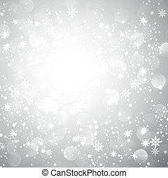 雪片, クリスマス, 背景, 銀