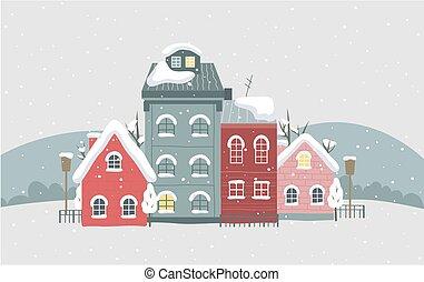 雪, 冬, illustration., roof., 家, 美しい, 町, ベクトル