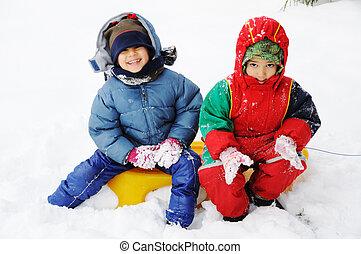 雪, 幸せ, 子供