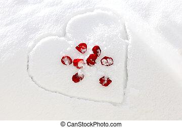 雪, 心, バラ