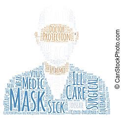 雲, マスク, 医者, イラスト, 芸術, 顔, ポスター, 単語
