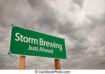 雲, 上に, 醸造, 印, 緑, 嵐, 道