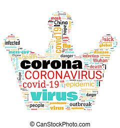 雲, 主題, コロナ, 単語, 発生, 背景, coronavirus, 白, 形