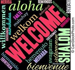 雲, 単語, インターナショナル, 歓迎