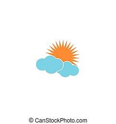 雲, 太陽, ロゴ, アイコン, ベクトル