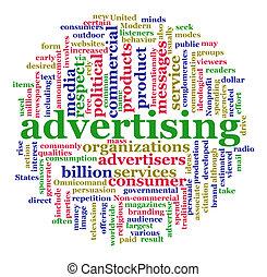 雲, 広告, 単語