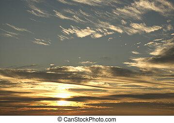 雲, 日没の 空