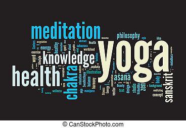 雲, 概念, 単語, illustration., yoga.