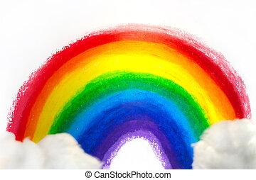 雲, 虹, handpainted, 子供, ハンドメイド, 映像, 綿