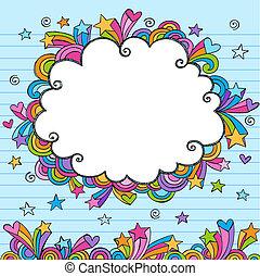 雲, sketchy, いたずら書き, ボーダー, フレーム