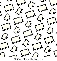 電子, ラップトップ・コンピュータ, 背景, 線, 技術