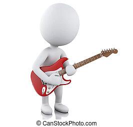 電気である, 人々, ギター, 白, 遊び, 3d