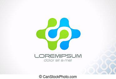 電気である, 科学, 抽象的, 分子, vector., ロゴ, 技術