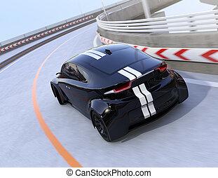 電気である, 運転, 自動車, スポーツ, 黒, 後部, ハイウェー, 光景