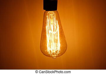電球, ランプ, 暖かい, ライト