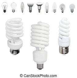 電球, 別, 古い, light-bulb, 現代, タイプ