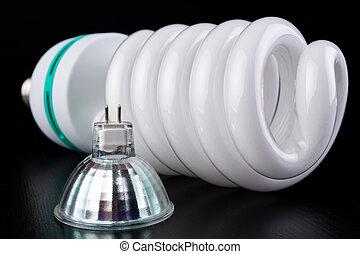 電球, 別, 木製である, ライト, ライト, lighting., 蛍光, 新しい, テーブル。, タイプ