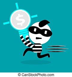 電球, 権利, 泥棒, 知的, 盗みをはたらく