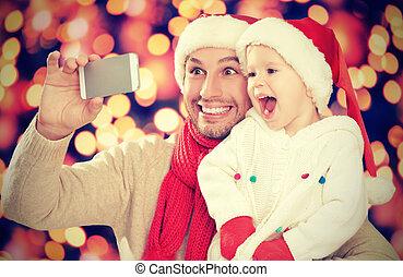 電話, お父さん, 写真を撮られた, 遊び, 娘, selfe, クリスマス。, 家族, 幸せ, モビール