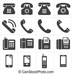 電話, アイコン, smartphon, クラシック
